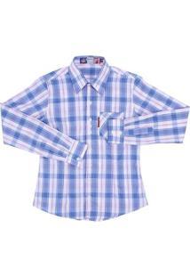 Camisa Xadrez Feminina Manga Longa Rodeo Western - Feminino-Azul