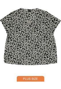 Blusa Estampada Feminina Rovitex Plus Size Preto