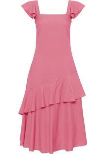 Vestido Midi Alça Babados - Rosa