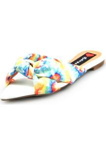 Sandália Love Shoes Rasteira Bico Folha Nó Tie-Dye Azul - Tricae