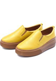 Slip On Flatform Feminino Casual Touro Boots Amarelo - Kanui