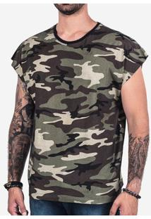 Camiseta Oversized Sleeveless Militar 102348