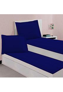 Kit Cobreleito Colcha Solteiro Com Elástico Kacyumara Sleep Azul Marinho 100% Algodão