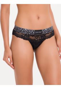 Calcinha Tanga Renda Animal - Preto - S