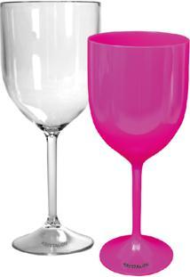 Kit 2 Taças Vinho Rosa E Transparente Acrílico Ps Krystalon