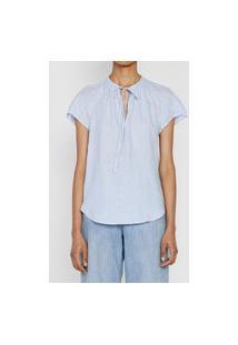Blusa Linho Polo Ralph Lauren Listrada Azul