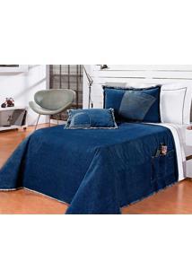 Colcha / Cobre Leito Cama Solteiro Azul Escuro Algodão Com 4 Peças - Cobreleito Street - Bernadete Casa