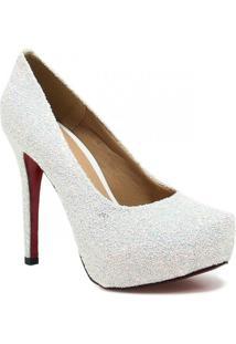 Sapato Zariff Shoes Noivas Pump Glitter - Feminino-Branco