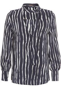 Camisa Feminina Seda Savoy - Preto