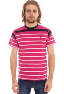 Camiseta Aleatory Listrada Gang Masculina - Masculino-Pink
