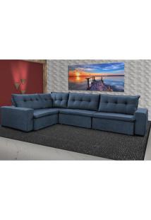 Sofa De Canto Retrátil E Reclinável Com Molas Cama Inbox Oklahoma 3,45X2,41 Ou 2,41X3,45 Azul