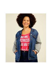 Jaqueta Plus Size Feminina Jeans Recorte
