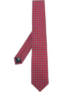 Cerruti 1881 Gravata De Seda Com Estampa Geométrica - Vermelho