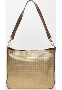 Bolsa Metalizada Com Tag- Dourada & Marrom- 26,5X29,Di Marlys