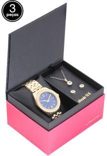 99639fef9 Dafiti. Relógio Analógico Kit Feminino Dourado Aço Inox Lince 3 Peças ...