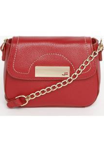 Bolsa Em Couro Com Pespontos - Vermelha - 13X17X6Cmjorge Bischoff