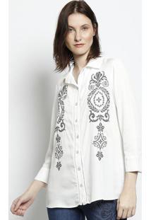 Camisa Com Bordado - Branca & Pretascalon