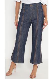 Jeans Cropped Com Pespontos- Azul & Marrom- Ennaenna