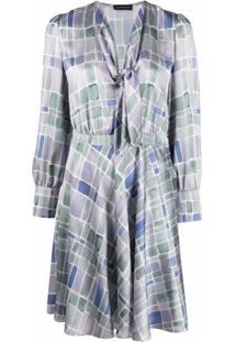 Emporio Armani Vestido Com Estampa Quadriculada - Cinza