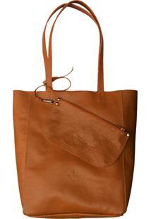 Bolsa Line Store Leather Sacola Shopper N1 Couro Caramelo. - Kanui