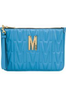 Moschino Clutch Matelassê Com Logo - Azul