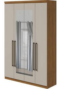 Guarda Roupa Alonzo New 4 Portas Com Espelho Rovere Naturale/Off White 2020