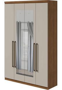 Guarda Roupa Alonzo New 4 Portas Com Espelho Rovere Naturale/Off White
