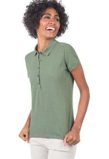 Polo Básica Color Feminina - Feminino-Verde