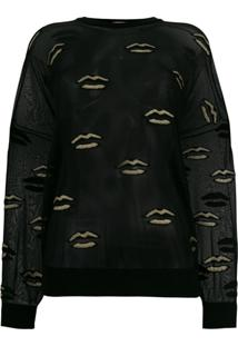 Givenchy Blusa Translúcida Bordada - Preto