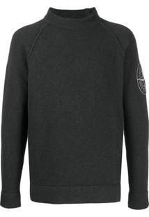 Stone Island Suéter Com Logo Bordado - Cinza