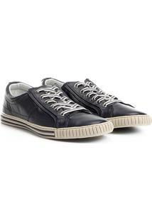Sapatênis Couro Shoestock Listras Masculino - Masculino-Marinho