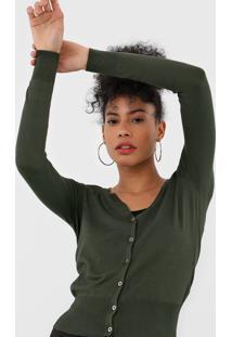 Cardigan Dzarm Tricot Botãµes Verde - Verde - Feminino - Viscose - Dafiti