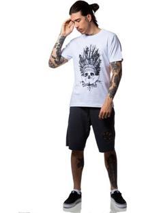 Camiseta Zero Indian Skull Masculina - Masculino-Branco