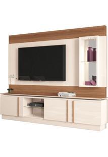Estante Home Theater Para Tv Até 70 Pol. Vértice Off White/Nature - Hb Móveis