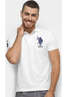 Camisa Polo U.S. Polo Assn Lisa Uspa Masculina - Masculino-Branco