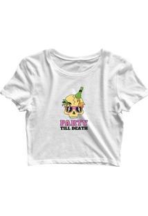 Blusa Feminina Cropped Tshirt Goup Girls Caveira Party - Feminino