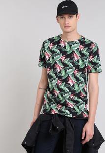 Camiseta Masculina Estampada Tropical Manga Curta Gola Careca Preta