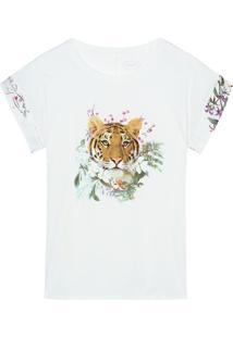 Blusa Jungle Garden Em Algodão Supima E Cetim Intimissimi Algodão Supima Off-White