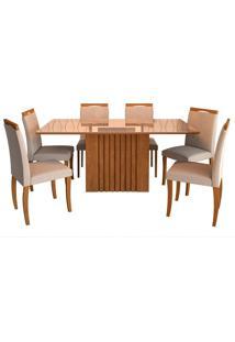 Conjunto De Mesa Para Sala De Jantar Ana Com 6 Cadeiras Laura-Cimol - Savana / Off White / Aspen