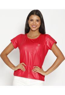 Blusa Acetinada Com Bolso- Vermelhacarmen Steffens