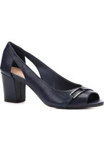 Peep Toe Shoestock Lezard Metal - Feminino-Marinho