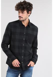 Camisa Masculina Estampada Xadrez Com Bolso Manga Longa Verde Escuro
