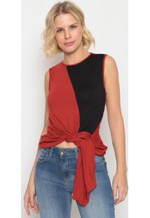 Blusa Com Nó- Vermelha & Preta- Forumforum