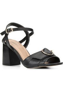 Sandália Couro Shoestock Fivela Salto Bloco Médio Feminina - Feminino-Preto