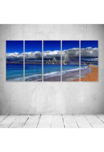 Quadro Decorativo - Greece Gulf Of Corinth Cable Stayed - Composto De 5 Quadros