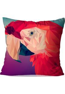 Capa De Almofada Avulsa Decorativa Papagaio Geométrico 35X35Cm