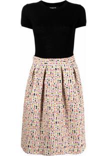 Paule Ka Vestido Com Mix De Tecidos - Preto