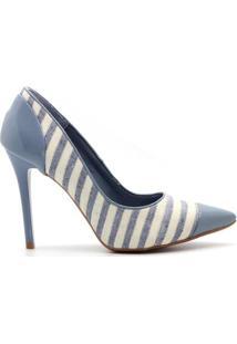 Scarpin Royalz Verniz Bico Salto Alto Fino Feminina - Feminino-Azul Claro