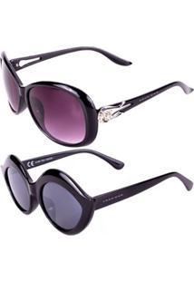 Promoção Kit 2 Óculos De Sol Femininos Prorider Casuais Preto - Kitconb1F