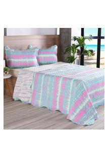 Kit 1 Cobre Leito Casal + 2 Portas Travesseiros Bouti Ultrassonic Rolinho Colors - Bene Casa